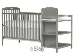Full Size Crib Steel Grey Changing Table 2 In 1 Toddler Kid Bed Nursery Bedroom