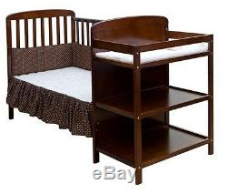 Full Size Crib With Changer Espresso 2 In 1 Toddler Kid Bed Nursery Bedroom New