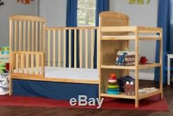 Full Size Crib With Changer Natural 2 In 1 Toddler Kid Bed Nursery Bedroom New