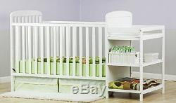 Full-size Crib With Changer White 2-in-1 Toddler Kid Bed Nursery Bedroom New