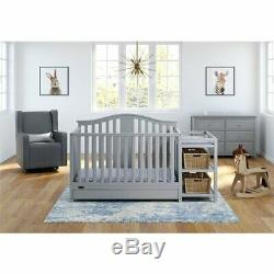 Graco Solano 3 Piece Convertible Crib and Changer Set in Pebble Gray
