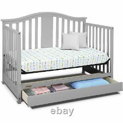 Graco Solano 4 in 1 Convertible Crib with Drawer Pebble Gray Non-Toxic Finish