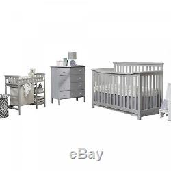 Gray Convertible Standard Crib and Changer Combo 3 Piece Nursery Furniture Set