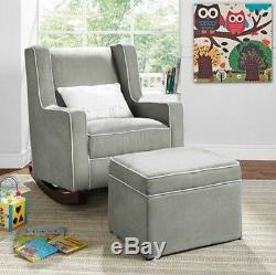 Gray Rocking Chair Nursery Furniture Baby Kids Relax Rocker Chairs &/or Ottoman