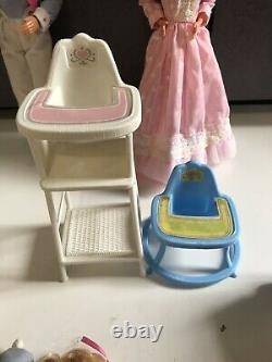 HTF RARE Vintage Barbie The Happy Hearts Family Lot with nursery furniture baby