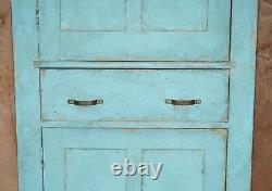 Hand Painted Pair Of Antique Victorian Circa 1860 Pine Kitchen Pot Cupboards