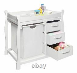 Infant Baby Diaper Changing Table with Hamper 3 Drawers Storage Nursery Furniture