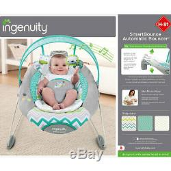 Ingenuity SmartBounce Automatic Bouncer/Rocker w Timer for Baby/Infant Ridgedale