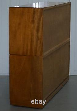 Large Sideboard Sized 1960's Simplex Honey Oak Stacking Bookcase Glass Doors