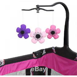 Mobile Playpen Infant Nursery Baby Portable Playard Bed Cradle Crib Bassinet NEW
