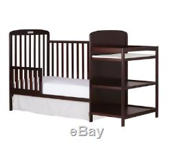 NEW 4-In-1 Baby Crib With Changing Table Combo Furniture Full Size Cherry