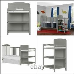 NEW 4-In-1 Baby Crib With Changing Table Combo Furniture Full Size Steel Gray