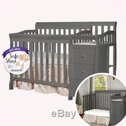 NEW 4-in-1 Convertible Mini Crib, Changer, and Bed Dream On Me Grey