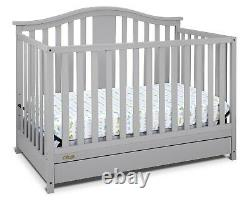 NEW Graco Solano 4in 1 Convertible Crib with Drawer Pebble Gray Non-Toxic Finish