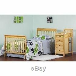 Natural Mini Size Convertible 4-in-1 Crib Bed Baby Toddler Nursery Changer Side