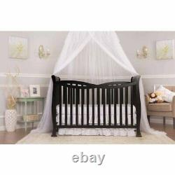 New 7-in-1 Convertible Baby Bed Full Size Crib Nursery Bedroom Furniture Black