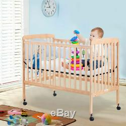 Pine Wood Baby CribToddler Bed Convertible Nursery Infant Newborn Cherry/Natural