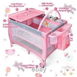 Pink Baby Crib Foldable Portable Bed Infant Playard Changing Table Play Center