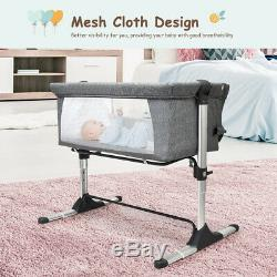 Portable Baby Bed Side Sleeper Infant Bassinet Crib WithCarrying Bag Grey