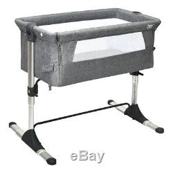 Portable Baby Bed Side Sleeper Infant Travel Bassinet Crib WithCarrying Bag Grey