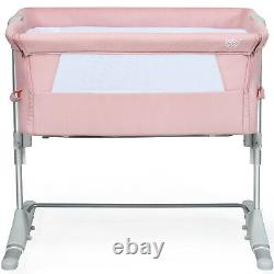 Portable Baby Bed Side Sleeper Infant Travel Bassinet Crib WithCarrying Bag Pink