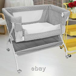 Portable Baby Bed Side Sleeper Infant Travel Bassinet Crib With Bag Home Grey New
