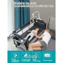 Portable Baby Bed with Diaper Table Multifunctional Newborn Bed Kids Cradle Rock