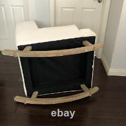Pottery Barn Rocking Chair Modern Tufted Wingback Rocker Ivory - LOCAL PICK UP