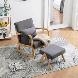 Rocking Accent Chair Baby Glider Rocker with Ottoman Stool Padded Seat Upholstered