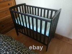 Solid Wood Compact Cot Baby Crib Space Saving New Born Mini Nursery Bed Black