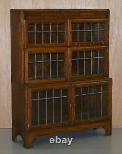 Suite Of Three Fully Restored Minty Oxford Legal Library Stacking Bookcases