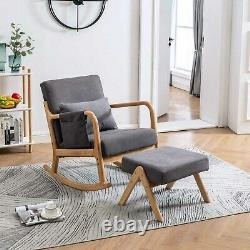 Upholstered Rocking Accent Chair Baby Glider Rocker with Ottoman Stool Padded Seat