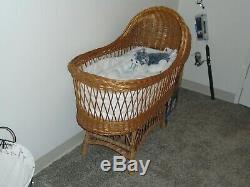 Vintage Rattan Bassinet, used in perfect condition, Heirloom Quality