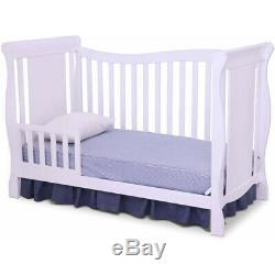 White 4-in-1 Convertible Baby Crib Toddler Wood Bed 3-Position Height Adjustment
