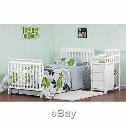 White Mini Size Convertible 4-in-1 Crib Bed Baby Toddler Nursery Changer Side