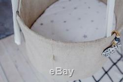Wonderful LINEN HANGING BABY bassinet cradle bed cot. For night & day