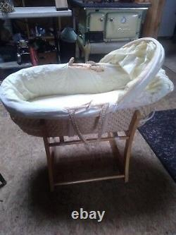 Woven Hooded Moses Basket with Stand 3 feet long, 20 inch wide, 10 inch deep